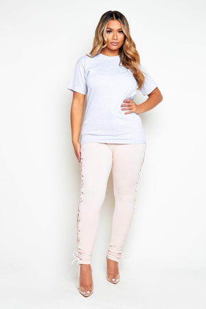 Blush Side Lace Up Skinny Trousers