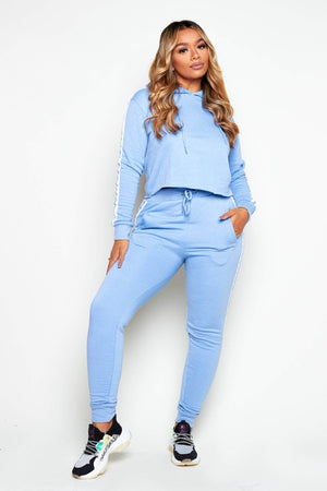 Baby Blue Side Stripe Jersey Joggers