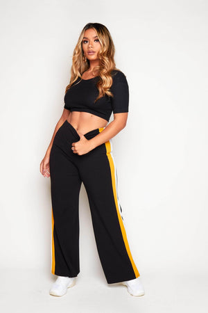 Black Wide Mustard Stripe Trousers