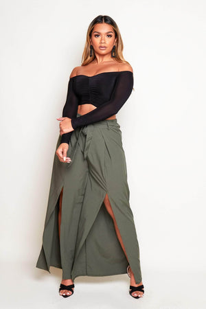 Khaki Wide Leg Split Belted Trousers