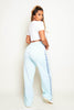 Pale Blue Contrast Stripe Popper Joggers