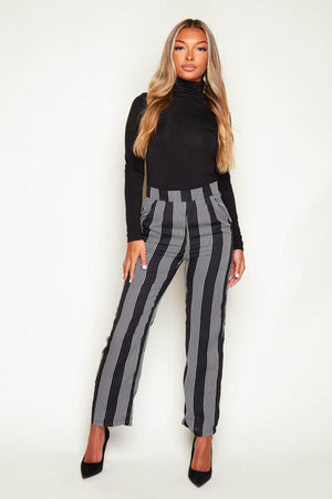 Black & White Stripe Sheer Trousers