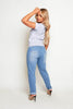 Light Wash Distressed Denim Mom Jeans