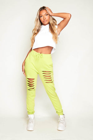 Lime Green Distressed Ripped Joggers