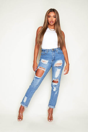 Long Heavily Distressed Light Wash Denim Jeans
