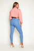 Mid Wash Stretch High Waist Skinny Jeans