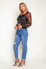 Acid Wash Denim Jeans with Distressed Knee Rips