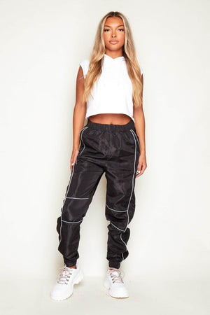 Black Side Panel Shell Joggers