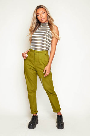 Green Turn Up Hem Utility Trousers