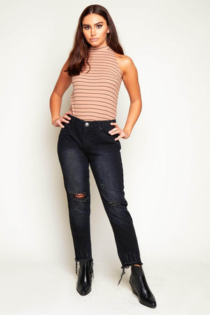 Black Jeans with Heavily Distressed Hem