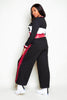 Black Wide Leg Joggers with Red Stripe
