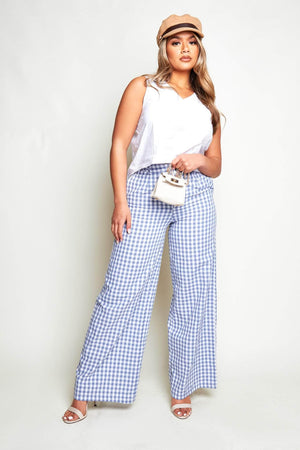 Blue Gingham Wide Leg Trousers