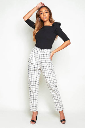 Cream & Black Checked Tailored Trousers