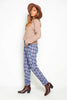 Blue Checked Straight Leg Trousers