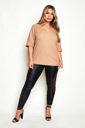 Black Wet Look Leggings with Mesh Panel