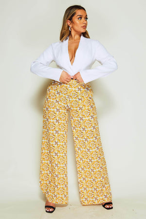 Yellow Porcelain Wide Leg Trousers