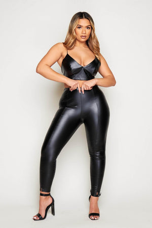 Black Faux Leather Split Front Leggings