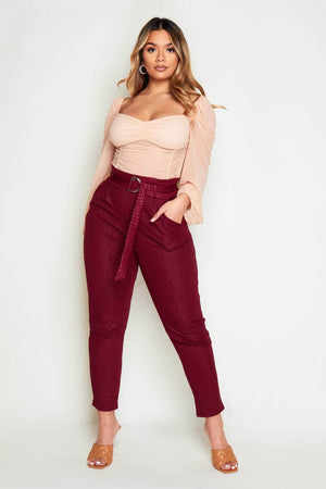 Wine Textured Snake Paperbag Trousers