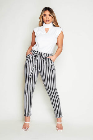 Black & White Stripe Belted Trousers