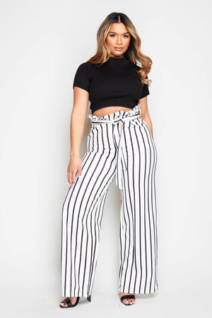 White Pinstripe Paperbag Wide Leg Trousers
