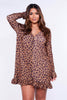 Leopard Frilly Hem Shift Dress