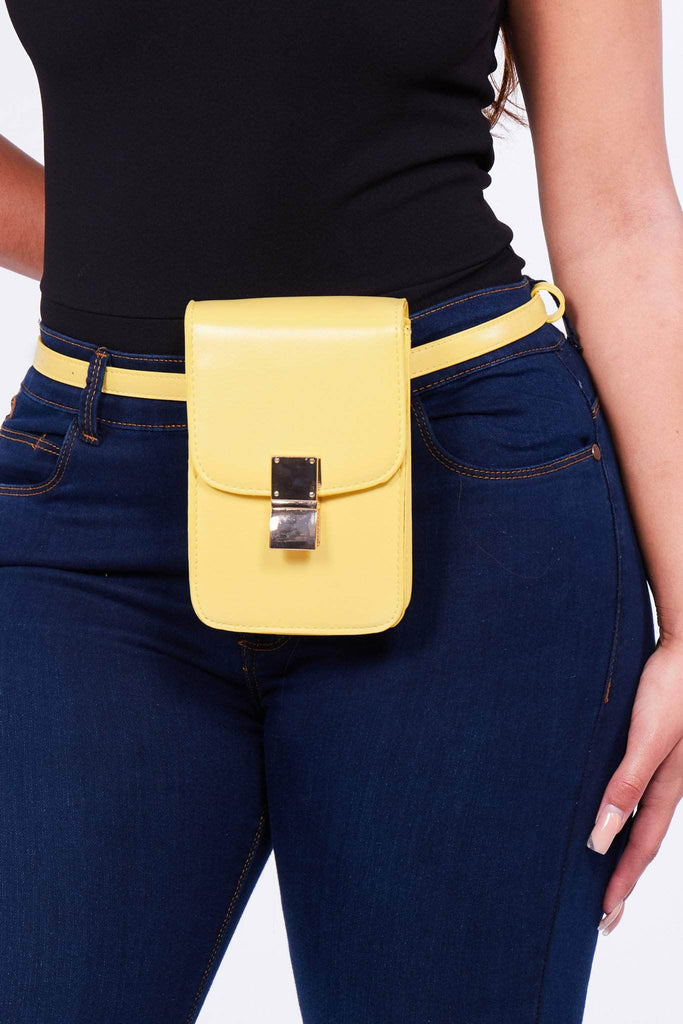 Yellow Pu Rectangle Belt Bag