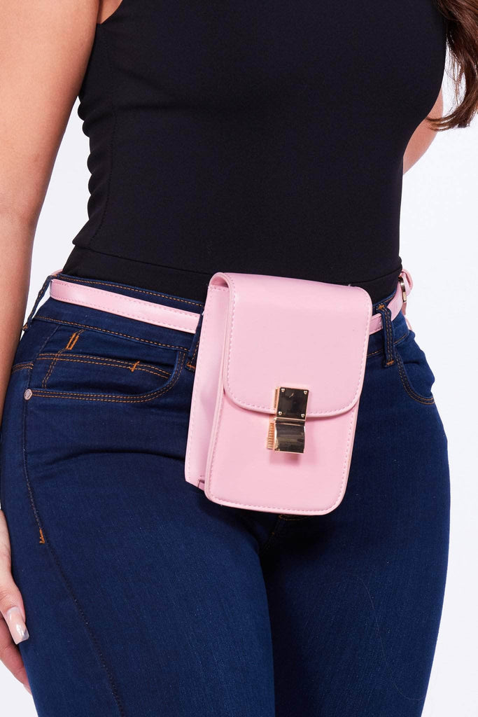 Pink Pu Rectangle Belt Bag