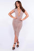 Mocha Plunge Slinky Ruched Bodycon Dress