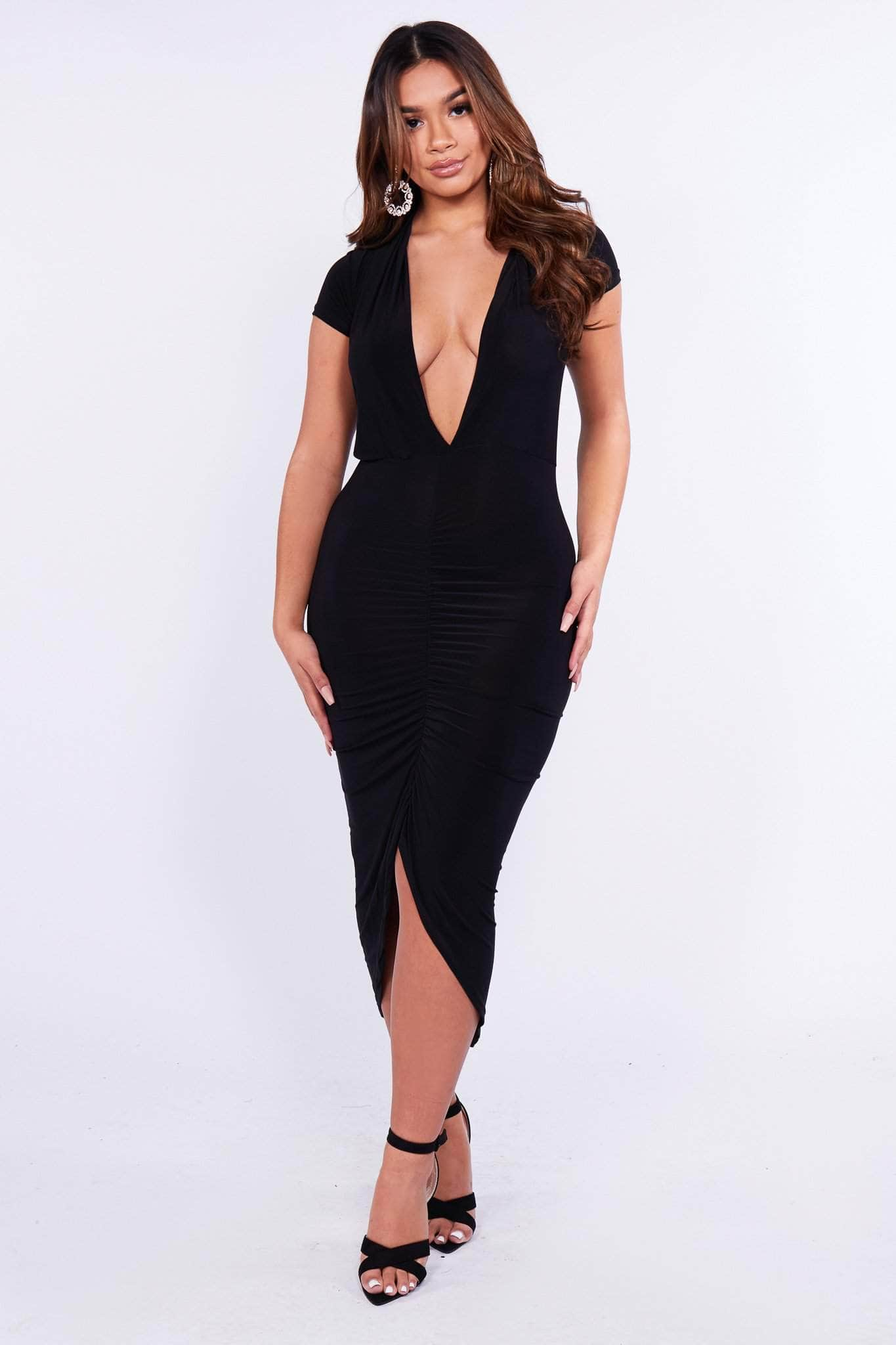 Black Plunge Slinky Ruched Bodycon Dress