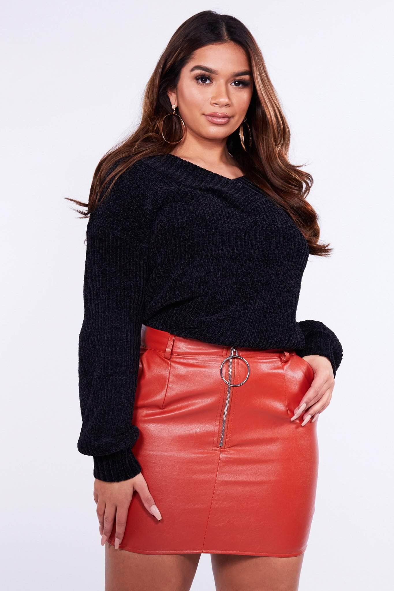 Rust Faux Leather Zip Front Mini Skirt