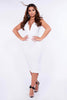 White V Bar Plunge Bodycon Dress