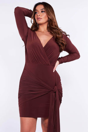 Brown Slinky Drape Tie Mini Dress