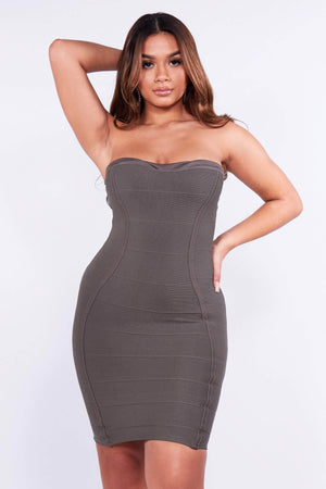 Khaki Bandeau Panelled Bodycon Dress