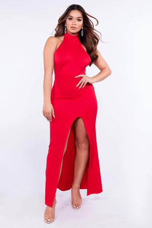 Red Halter Neck Split Maxi Dress