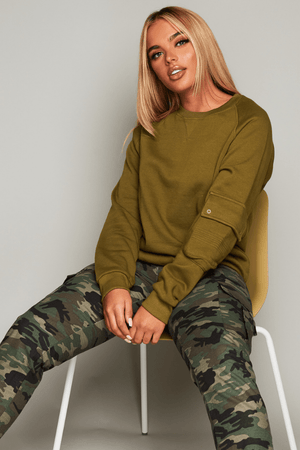 Army Green Sweater with Pockets