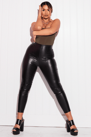 Petite Black Faux Leather Pintuck Leggings