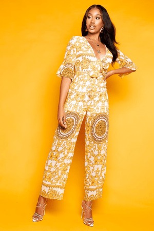 Yellow & White Paisley Printed Front Tie Jumpsuit
