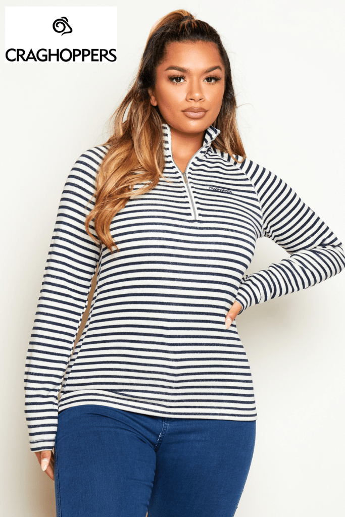 Craghoppers Navy & Cream Stripe Half Zip Fleece