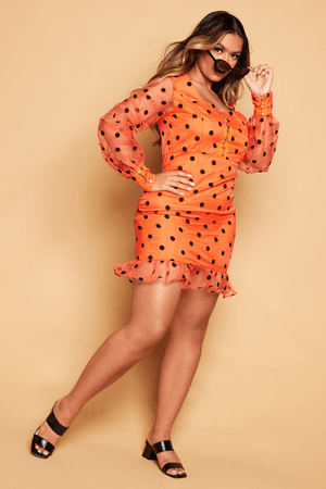 Orange Polkadot Chiffon Shift Dress