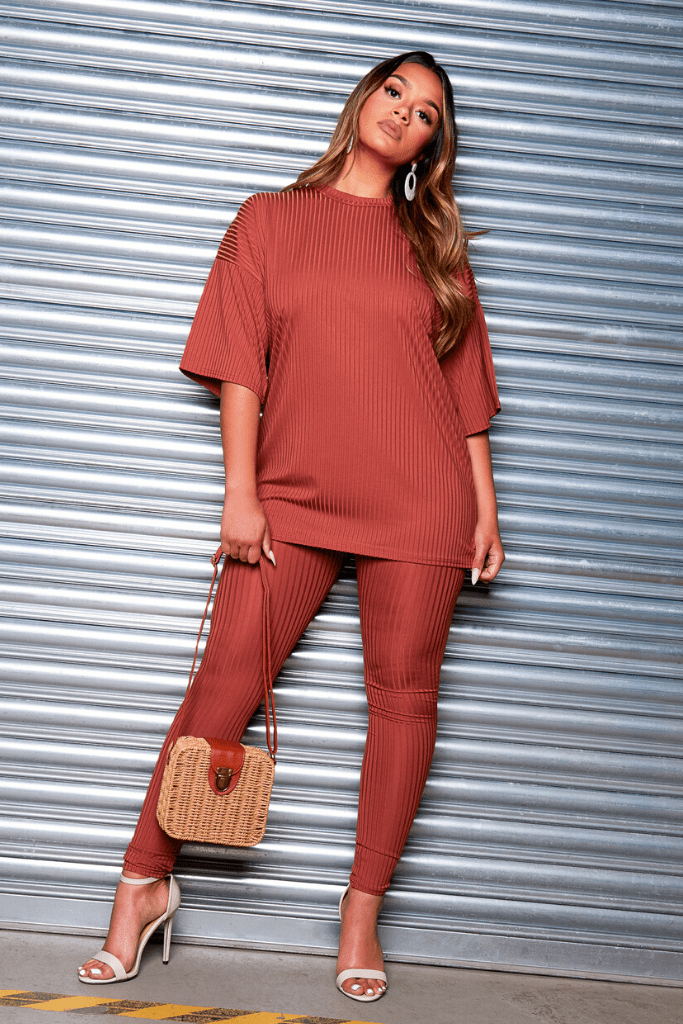Blush Ribbed Oversize T.Shirt & Leggings Co-ord
