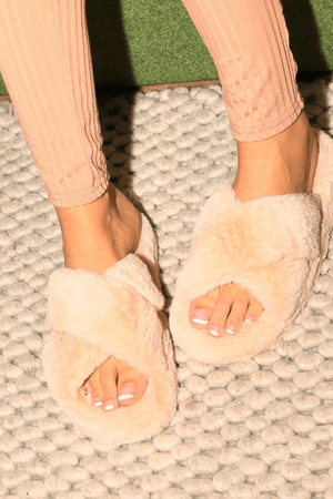 Faux Nude Cross Over Fur Sliders