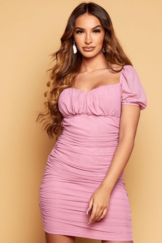Rose Pink Mesh Ruched Bodycon Dress