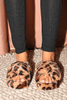Faux Leopard Cross Over Fur Sliders