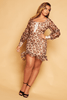 Leopard Printed Chiffon Frilly Hem Dress