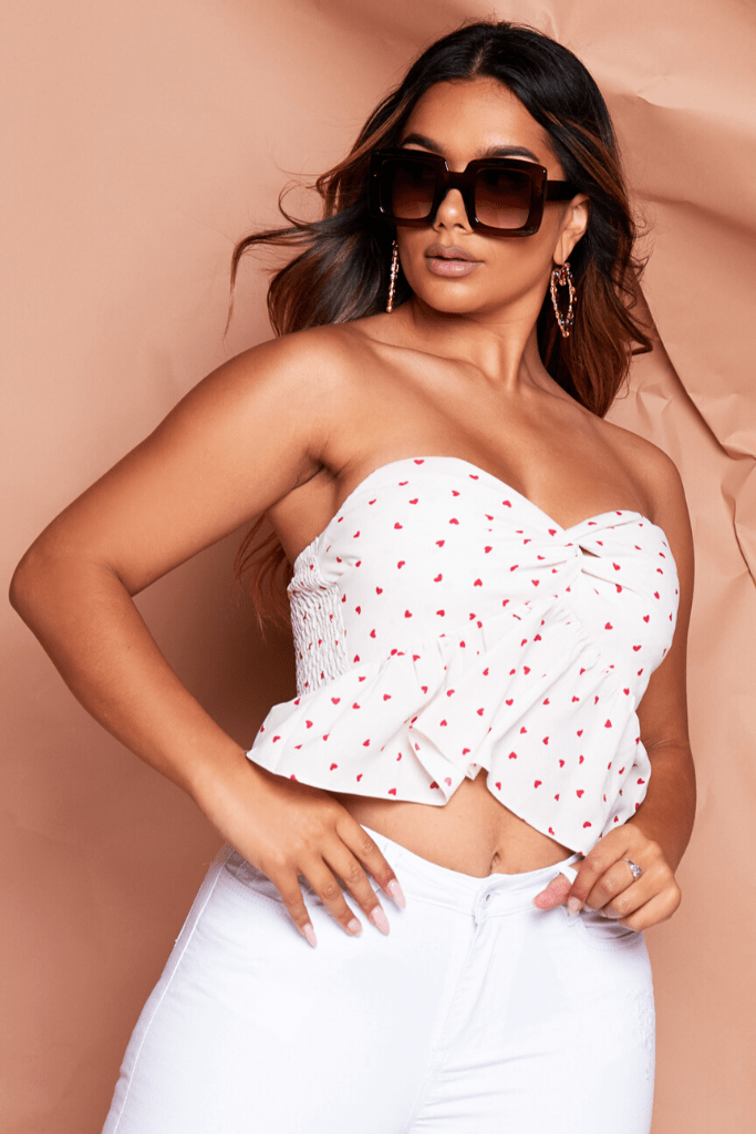 Cream Heart Printed Ruffle Bandeau Top