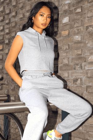 Grey Sleeveless Cropped Hoodie & Jogger Loungeset