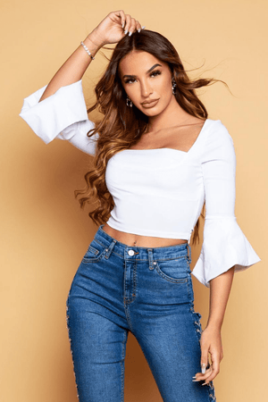 White Square Neck Flare Sleeve Crop Top