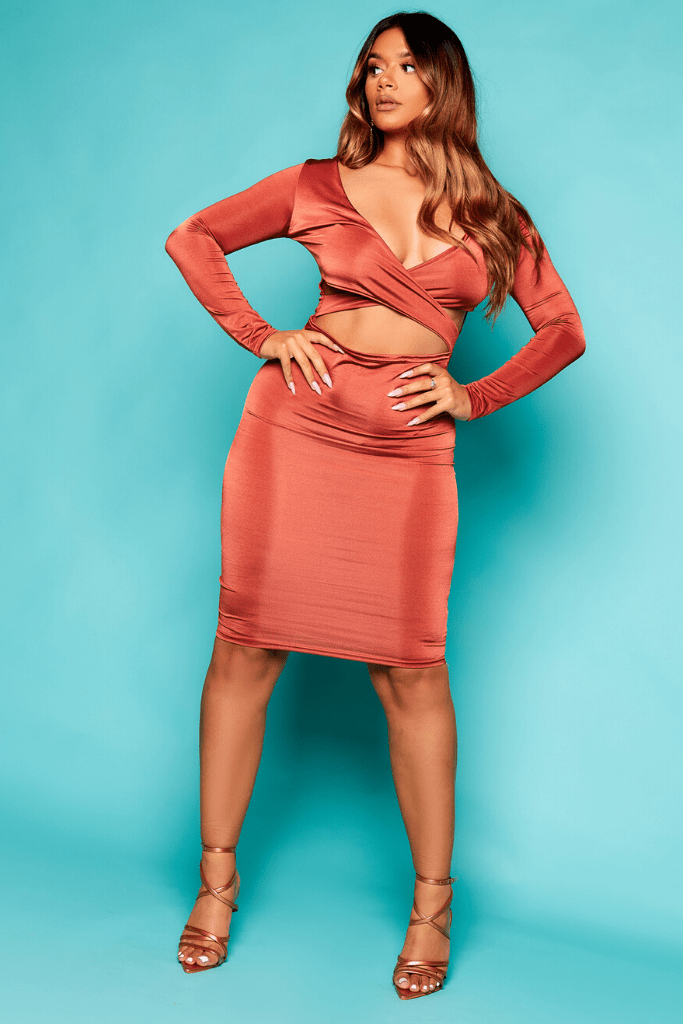 Bronze Slinky Plunge Cut Out Dress