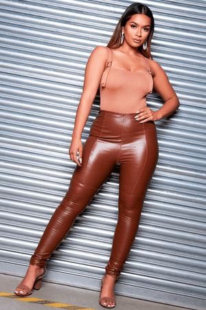 Brown Pu Panelled Trousers