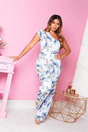 Light Blue Floral One Shoulder Jumpsuit